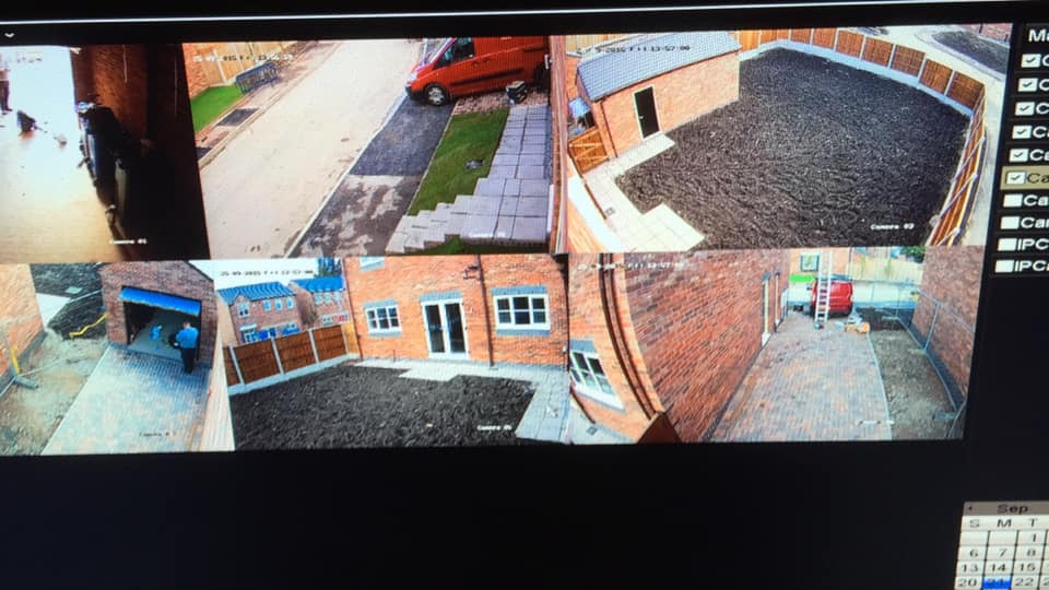 CCTV monitor shows several feeds around a home and garden