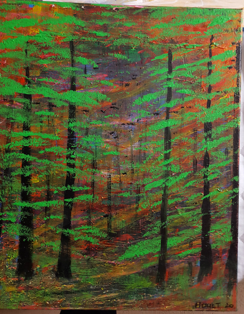 Acryllic painting of trees in a wood