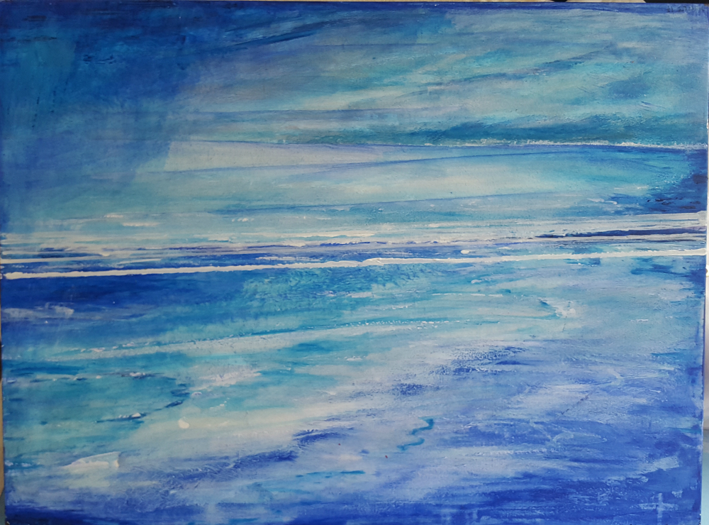 Acryllic painting of blue sea and sky