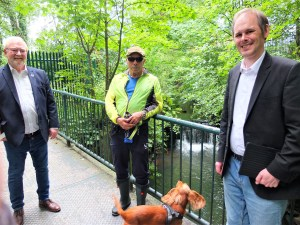 Alan Percival from Golborne & Lowton West Voice with Stan Crook and MP James Grundy by Millingford Brook.