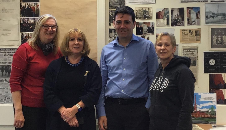 Councillors Susan Gambles, Gena Merrett and Yvonne Klieve from the Golborne and Lowton West ward with Andy Burnham, Mayor of Greater Manchester.