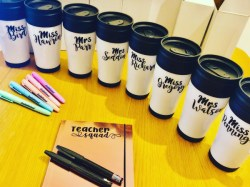 Personalised coffee cup gifts for teachers by the Glittery Jem