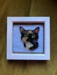 Felt art picture of a cat made by The Crafty Flower Girl
