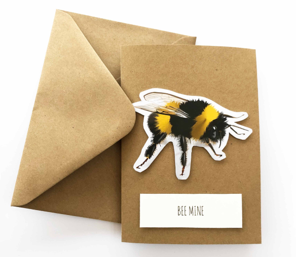 Valentines card with a bee design from Finbo Illustrations