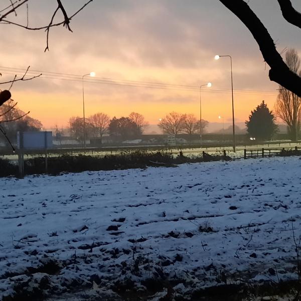 Ian Salt's photo of a winter sky over a Lowton field