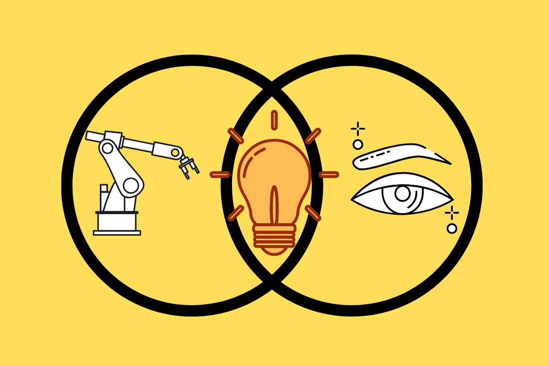 Venn diagram of robot and human eye joined by a lightbulb