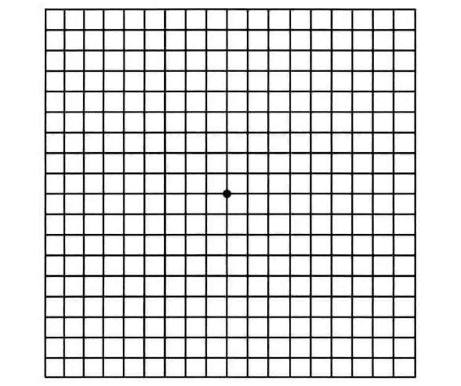 Amsler grid as seen with normal vision.