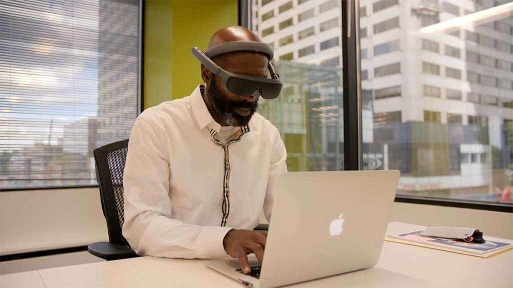 Tony Babb using eSight 4 low vision glasses