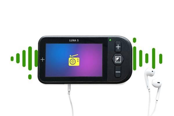 Luna S portable video magnifier FM radio feature