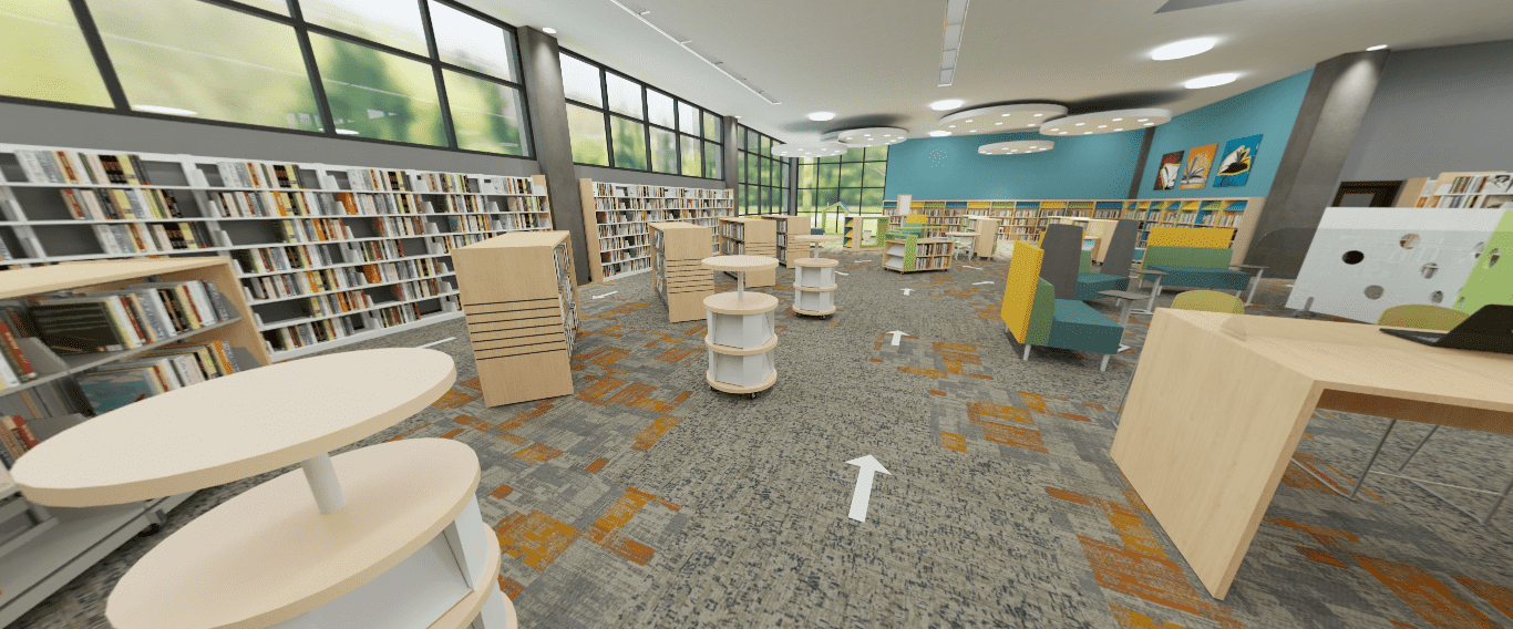 Social distancing public library sample design by Demco Interiors.