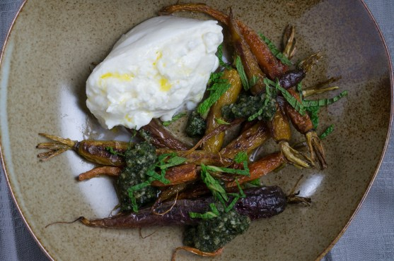 """Roasted Carrots with Carrot-Top Pesto and Burrata"" from ""A Girl and Her Greens"" by April Bloomfield"