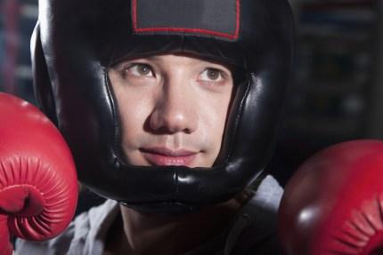 Boxer Wearing Headgear