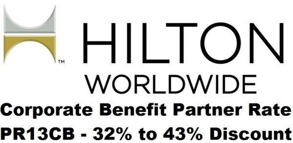 "Hilton PR13CB ""Corporate Benefit Partner Rate"" 32% To 43%"