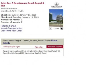 Marriott Special Offer 129 rate Eden Roc, Miami