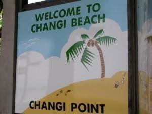 Singapore, Changi Beach sign