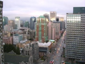 Vancouver Skyline view from Sheraton Wall Centre