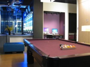 aloft Portland Airport pool table and computers in lobby