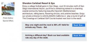 Starwood Carlsbad Sheraton participating hotel for promotion