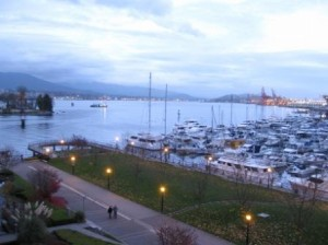 Vancouver Westin Bayshore harbor view at dusk