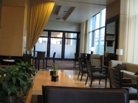 Westin Tabor Center lobby and Augusta Restaurant windows