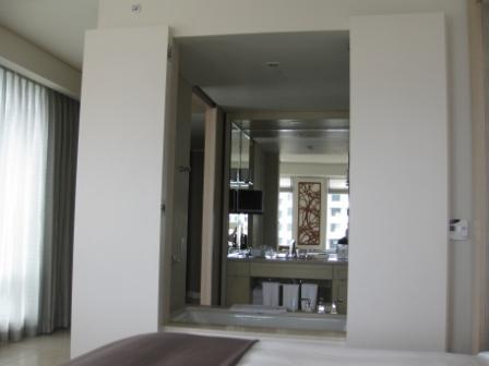 St. Regis San Francisco Room 1202 bath with open shutters