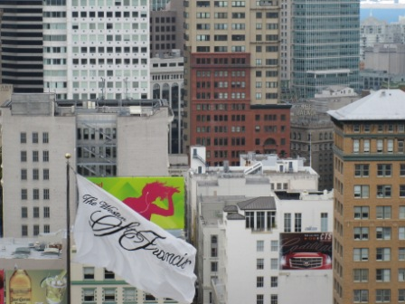 Westin St. Francis Flag and San Francisco skyline from Tower
