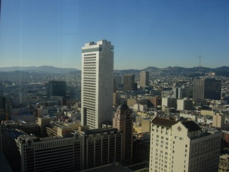 Westin St. Francis view over Geary Street and Hilton SF Hotel