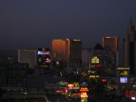 Las Vegas Strip view from Sheraton Planet Hollywood at dawn