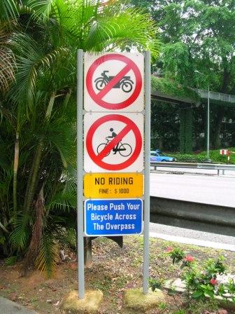 Pedestrian Bridge Sign outside Holiday Inn Park View Singapore