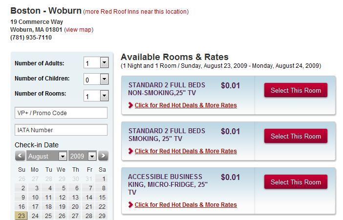 Red Roof Inn Woburn, MA One Cent Rate
