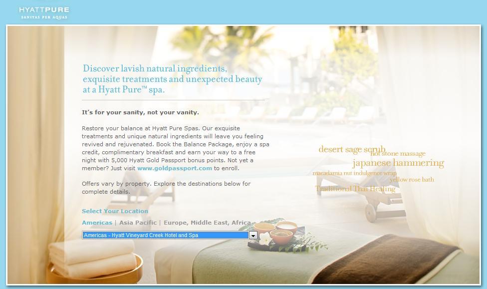 Hyatt Hotels Spa Balance Package