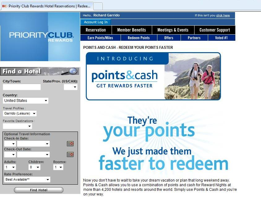 Priority Club Points & Cash email