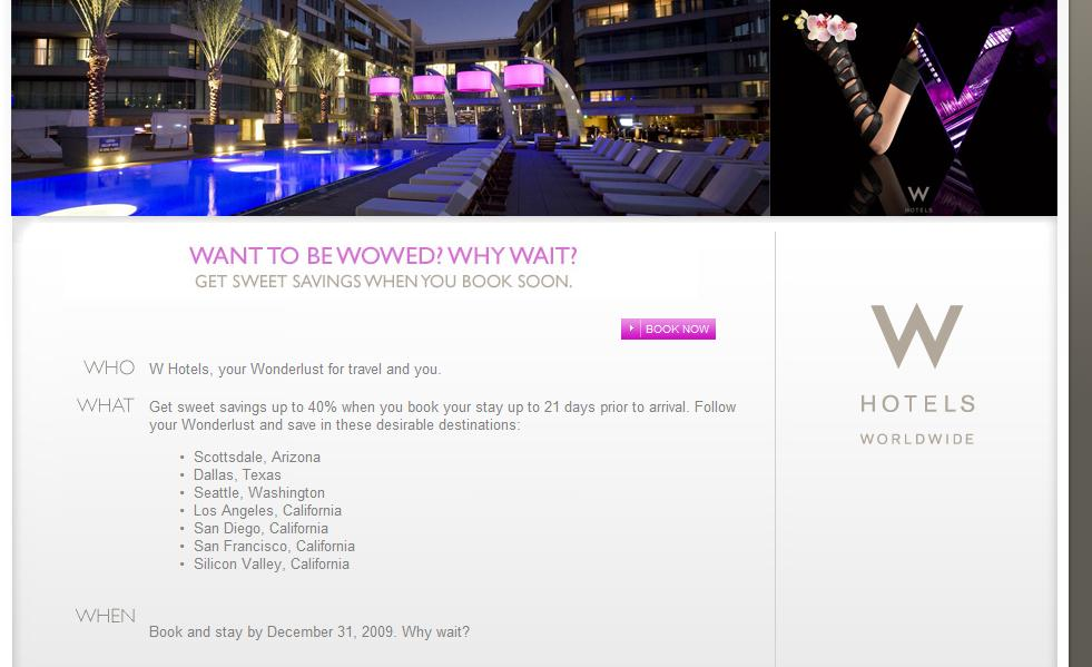 W Hotels 40% Discount with DAILY21 code