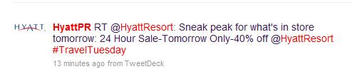 HyattPR tweet on Nov 17 for Hyatt Resorts 40% discount one day only sale Nov 18
