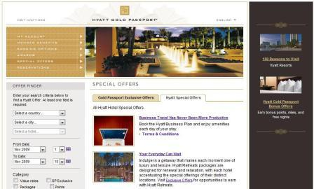 Hyatt Gold Passport Special Offers page (G Bonus link in right column)