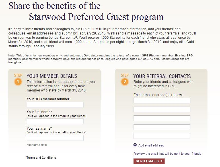 My SPG Platinum member referral form for new SPG members