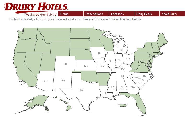 Drury Gold Key Club Triple Points Promotion Loyalty Traveler - Drury inn us map