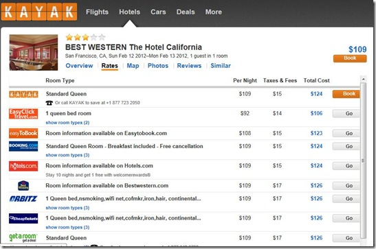 Best Western SF Kayak.com rates-2-9-12