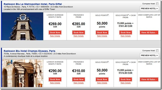 Club Carlson Points-Cash rates Paris