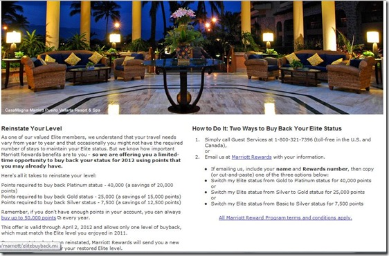 Marriott Rewards elite buy back 2012