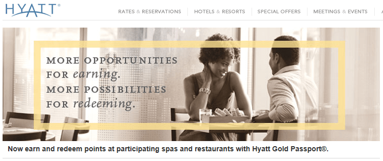 earn hyatt points for restaurant and spa as non guest loyalty traveler. Black Bedroom Furniture Sets. Home Design Ideas