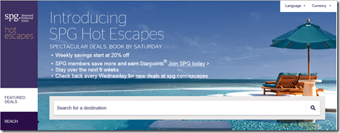 SPG Hot Escapes live