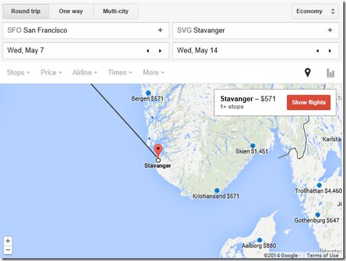 Google flights SFO-Norway $571
