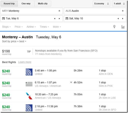 Google Flights MRY-AUS RT