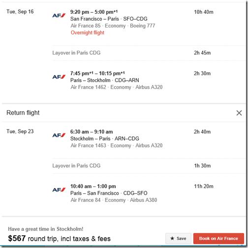 Air France SFO-ARN