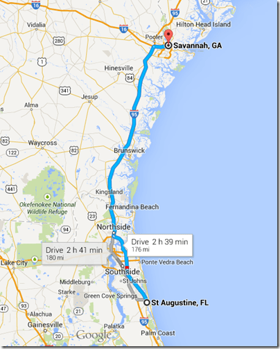 Driving Time From Orlando To St Augustine Beach