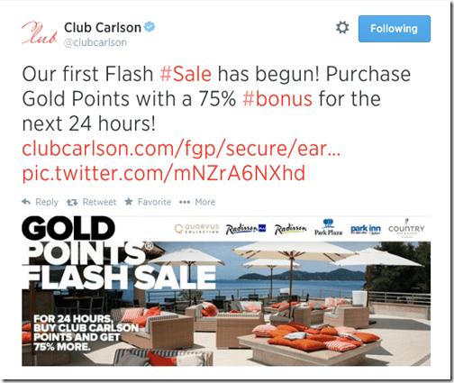 Club Carlson Twitter flash sale