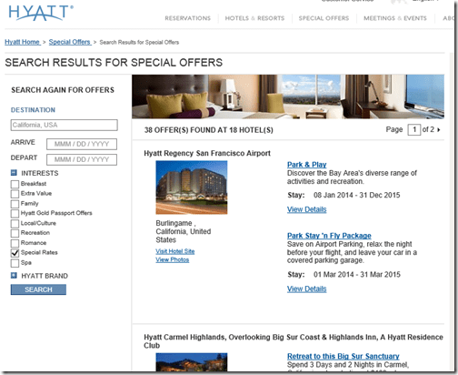 Hyatt Special offer California