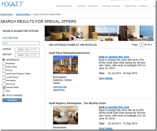Hyatt Special offers USA