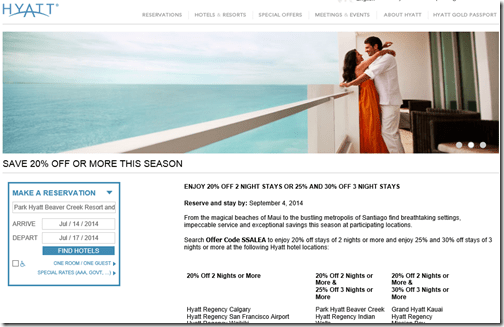 Hyatt summer 2014 sale